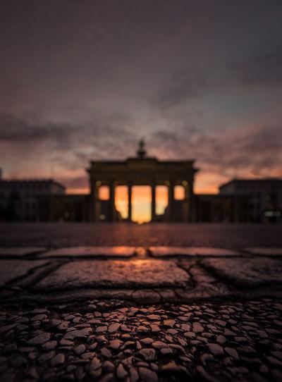 Brandenburg gate against sky during sunset