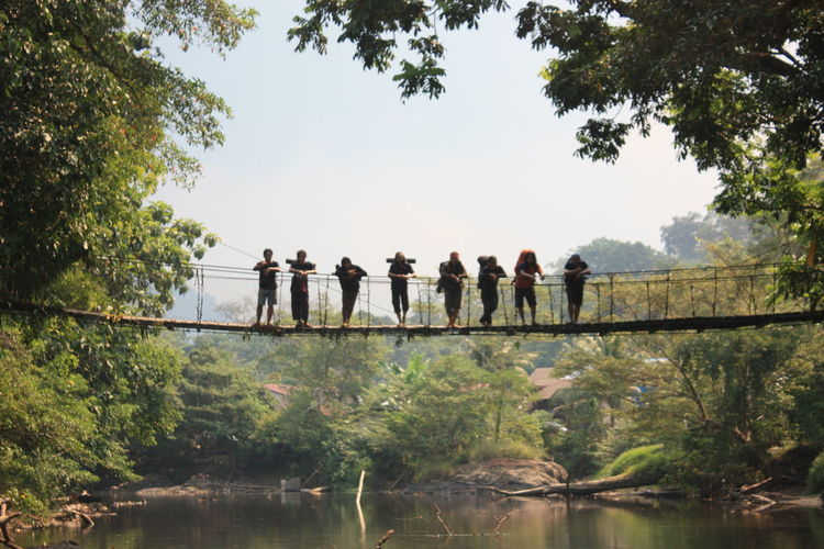 Friends standing on rope bridge over lake in forest