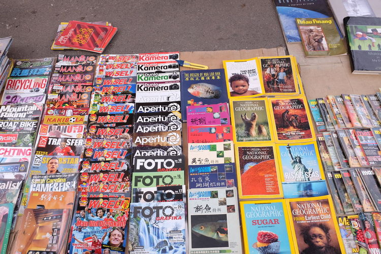 Pre-loved magazines on sale at car boot sale market at Loken Market, Ipoh. Books Car Boot Sale Choice Close-up Indoors  Loken Magazine Magazines Mammal Multi Colored National Geographic National Geography Photography Pre-loved Objects Variation