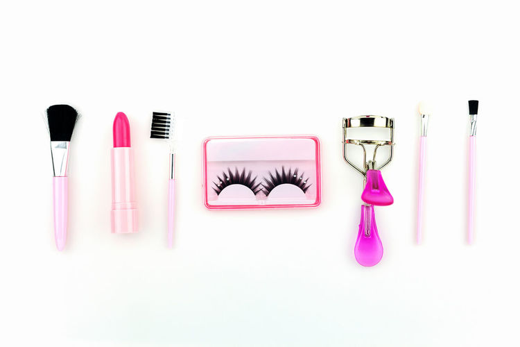 Beauty Beauty Product Body Care Body Care And Beauty Choice Copy Space Fashion Females Group Of Objects Indoors  Lipstick Make-up Make-up Brush Nail Polish People Pink Color Still Life Studio Shot Variation White Background