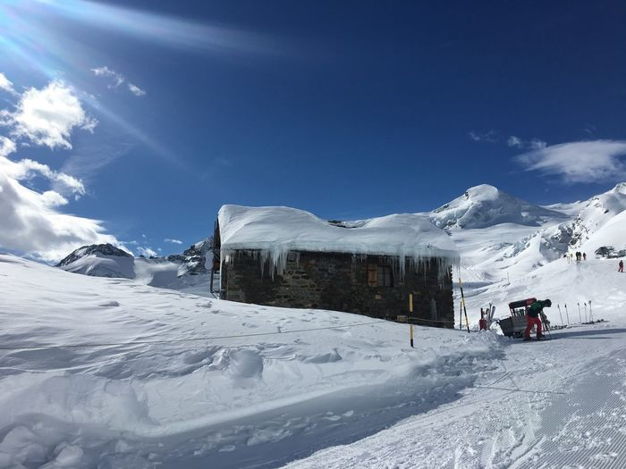 Längfluh Saas-Fee Snow Cold Temperature Winter Mountain Beauty In Nature Sky Scenics - Nature Landscape Snowcapped Mountain White Color Tranquility Ski Resort