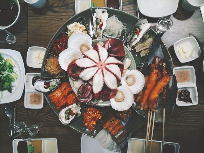 황제해산물보쌈 Octopus Plate Food Directly Above Food And Drink High Angle View Freshness Food Stories