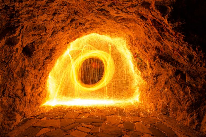 Wire wool in cave