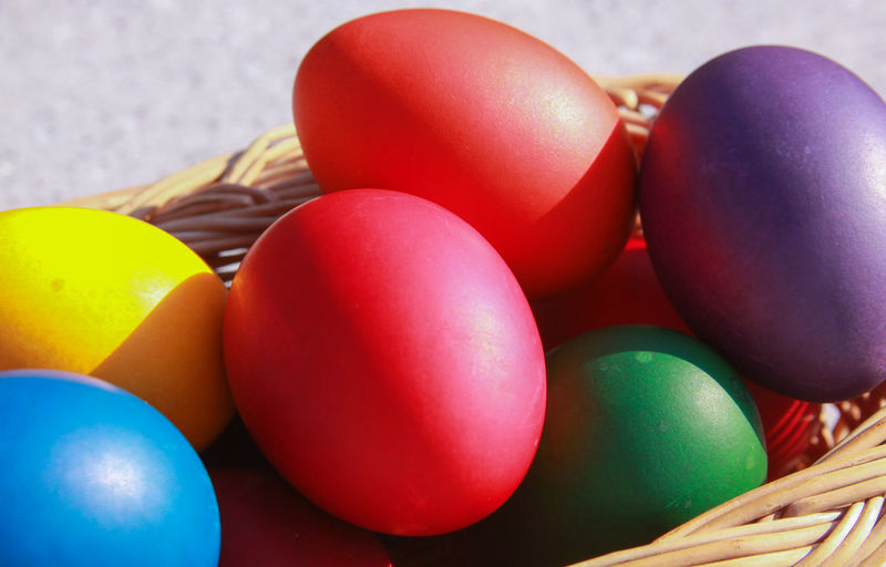 Close-up of multi colored easter eggs on table