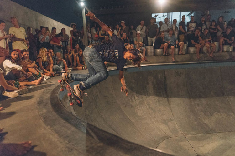 skating in bali Skateboarding Adult Arts Culture And Entertainment Audience Crowd Enjoyment Full Length Illuminated Indoors  Large Group Of People Leisure Activity Lifestyles Men Night Nightlife People Performance Performing Arts Event Real People Skate Skateboard Skill  Women Young Adult Youth Culture