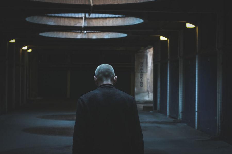 Exploring Men Back Parking Garage Light And Shadow Movıe Look