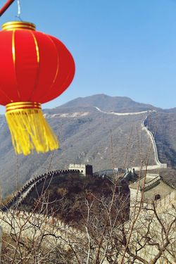 Great Wall of China , Mutianyu, on a sunny winter Sunday, red balloon, travel, travel photography, wonders of the world, tranquil Chinese Wall Great Wall Red Balloon Wonder Of The World Mountain No People Clear Sky Day Outdoors Nature Scenics Mountain Range Beauty In Nature