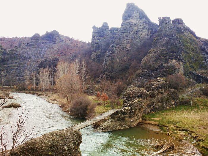 Wooden Bridge on Pcinja River captured from diferent place. Nature View Taking Photos Serbia Srbija