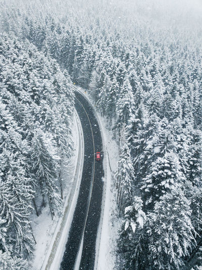 High angle view of snow on road