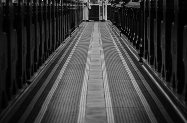 Black & White Church From My Point Of View Leading Lines Blackandwhite Floor Religion And Beliefs Stripes Pattern Praying