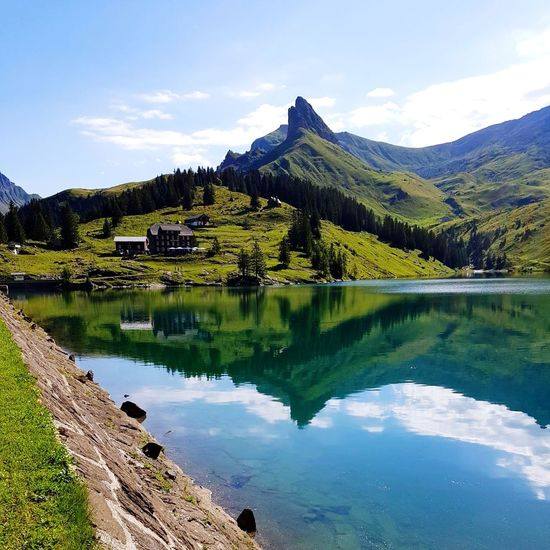Lake Reflection Mountain Landscape Water Scenics Outdoors Beauty In Nature No People Nature Sky Day Tree Bannalp Grass Switzerland Nidwalden Alps Switzerland Grand Tour Of Switzerland EyeEm Gallery EyeEm Best Shots Beauty In Nature Travel Destinations Hiking Reflection Breathing Space