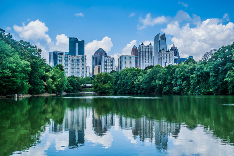 City Scenic Skyline Architecture Atlanta Blue Building Building Exterior Built Structure City Cloud - Sky Day Lake Nature No People Outdoors Piedmontpark Plant Reflection Sky Tree Water Waterfront