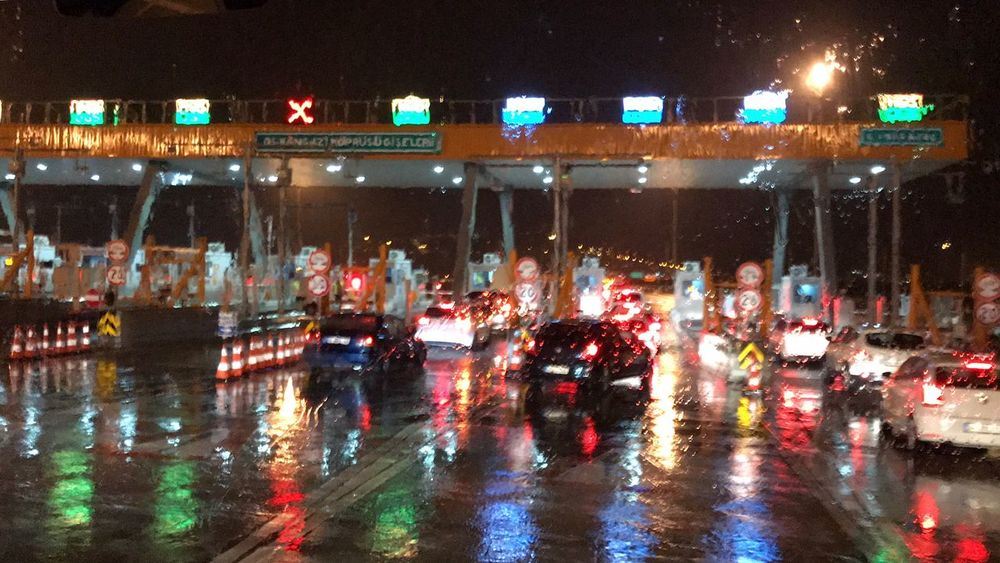 On The Road Turkey Osman Gazi Bridge Reflection Night Bridge Rainy Days Cars Toll Road