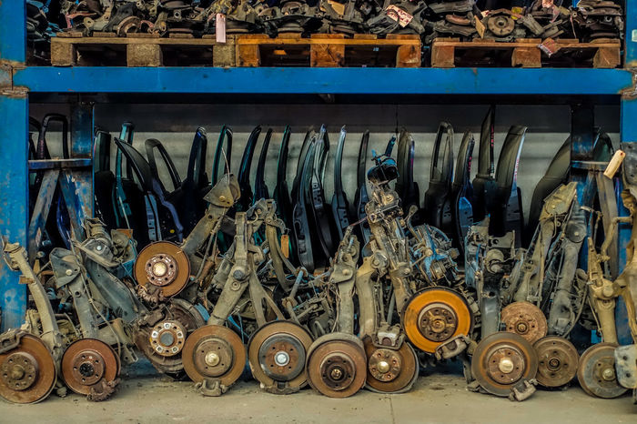 Car Parts Car Repair Cars Breaks Car Damaged And Wrecked Day Dirty Hanging Large Group Of Objects Metal Mode Of Transport No People Outdoors Rusted Rusted Car Rusted Metal  Tire Transportation Wheel