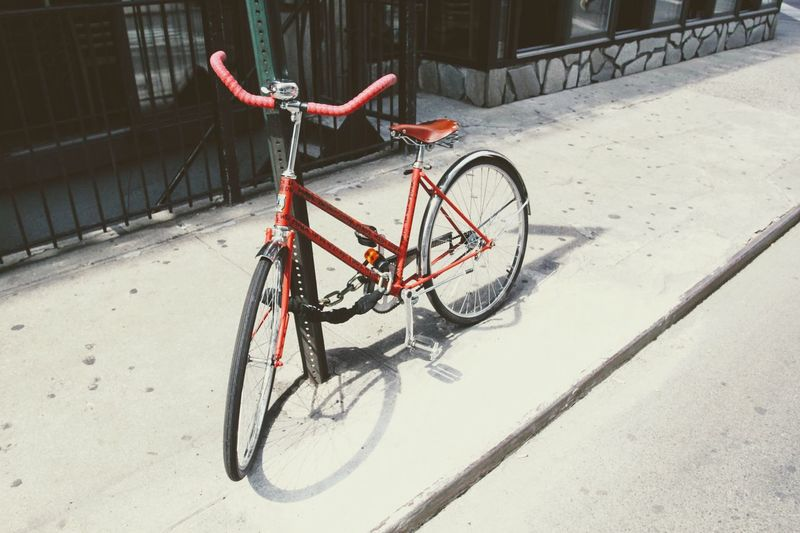Bicycle Mode Of Transport Stationary Red Transportation Land Vehicle Parking Outdoors No People Metal Bicycle Rack Day Bicycle Basket New York