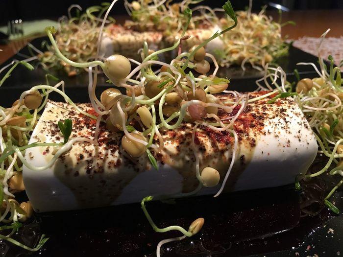 Food Healthy Eating Close-up Freshness Schafskäse Mit Linsensprossen