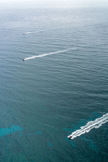 Aerial View Beauty In Nature Day High Angle View Mode Of Transportation Motion Nature Nautical Vessel No People on the move Outdoors Scenics - Nature Sea Ship Speed Transportation Wake - Water Water Wave Pattern The Great Outdoors - 2018 EyeEm Awards