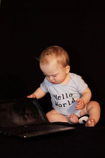 Internet Addiction Baby, online, Childhood Boys Cute hello world,