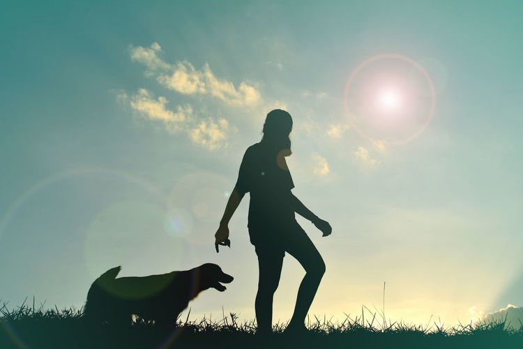 Silhouette Woman And Dog Walking On Grassy Field Against Sky During Sunset