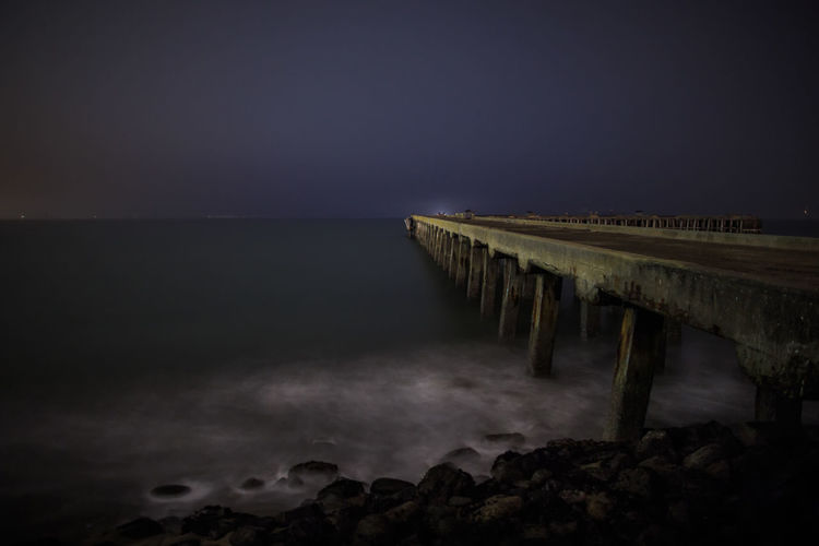 Pier, San Francisco Architecture Beauty In Nature Horizon Over Water Jetty Long Exposure Motion Nature Night No People Outdoors Scenics Sea Sky Water Wharf