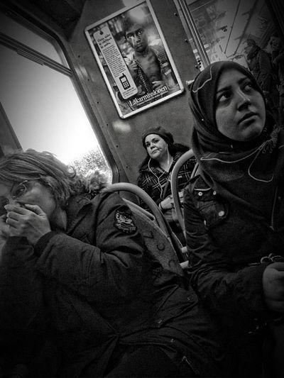 Together, apart. Public Transportation Blackandwhite Gothenburg People