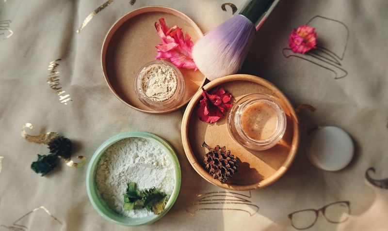 beauty product. Beauty Beauty Product Powder Clay Loose Powder Soft Clay High Angle View Indoors  No People Beauty Flower Close-up Still Life Bowl