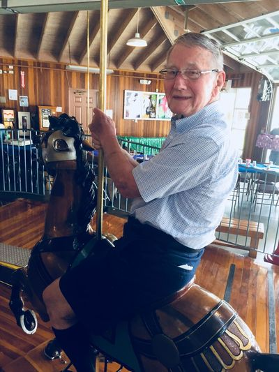 Theme Park Ride Horse NotYourCliche Carroussel Carrousel Indoors  Senior Adult Smiling Only Men Looking At Camera One Person This Is Masculinity Gray Hair One Man Only Adult People