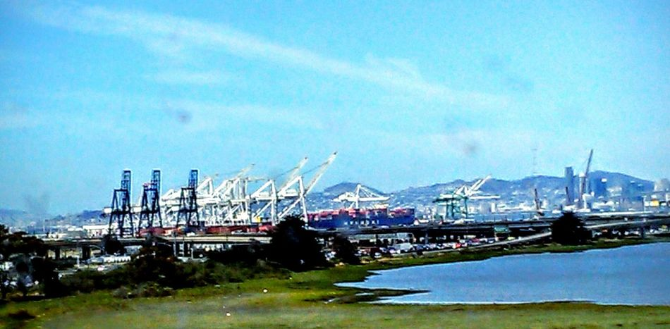 Highways And Byways This Week On Eyeem Eye4photography  Machinery Port Of Oakland, Ca. Industrial Landscapes Bus Ride Bay Area View From Bus Window Freeway Landscape Nature Feel The Journey On The Way Taking Photos ❤ Waterscape San Francisco Bay Infrastructure Industrial Architecture Freeway Scenery Travel Photography Street Photography San Francisco In The Background Sky And Clouds Road Trip View From The Bus