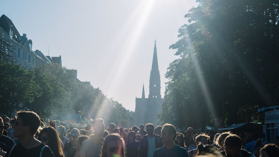#FREIHEITBERLIN Carnival Church Fun Adult City Crowd Crowded Day Enjoyment Festival Group Of People Large Group Of People Lens Flare Lifestyles Men Music Festival Outdoors Party Real People Sky Sunbeam Sunlight Watching Women