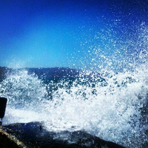 Splash! Stormy sea... #sea #ocean #rocks #water Sea Water Sky Blue Rocks Ocean Island Greece Photooftheday Picoftheday Crete Instagood Amazigram