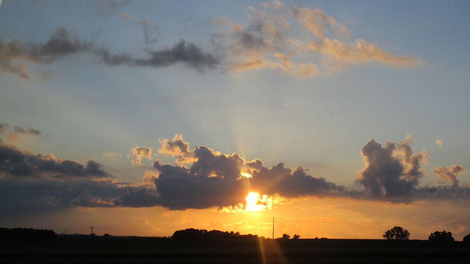 Campagne Belge Ciel Fin Soirée Sunset