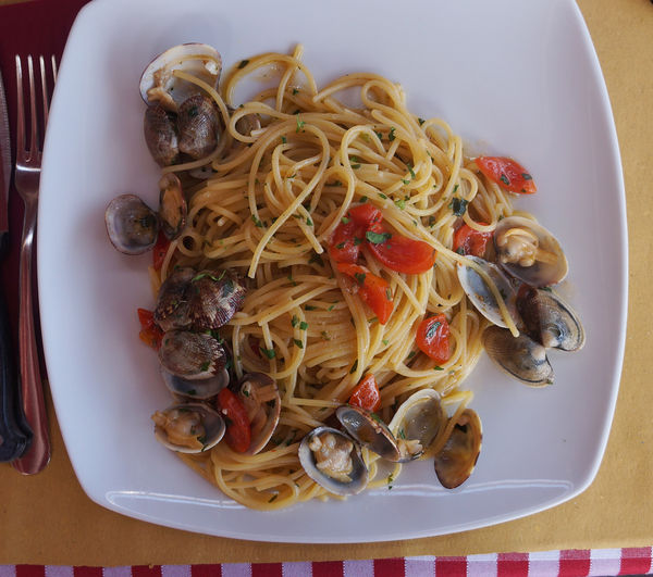 Clamshell Seafood Pasta Clam Clams Close-up Cooked Day Directly Above Food Food And Drink Freshness Healthy Eating High Angle View Indoors  Italian Food Mussel No People Plate Ready-to-eat Seafood Serving Size Spaghetti Still Life Table