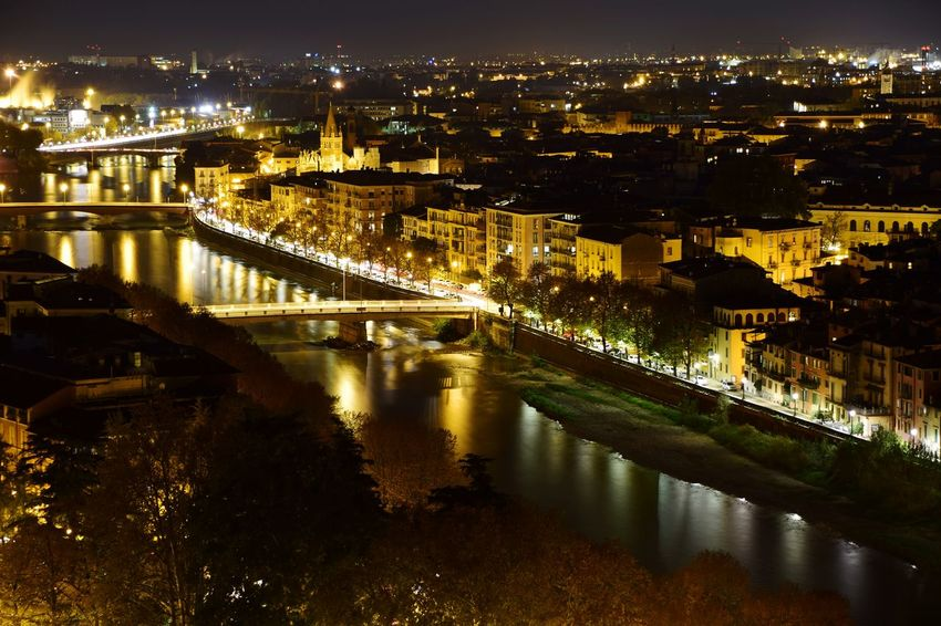 Architecture Illuminated Cityscape City Bridge - Man Made Structure Built Structure Night Travel Destinations Building Exterior Outdoors Water Sky Government Connection Downtown District No People Travel Tourism Verona