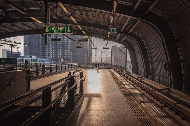 Sunday Morning at Skytrain station in Bangkok. City Life Skytrain Station Sunday Morning Architecture Building Built Structure Main Transportation On Sunday Morning No People Outdoor Railroad Station Skytrain In Bangko Sunlight, Shades And Shadows Transportation Transportation Vehicle