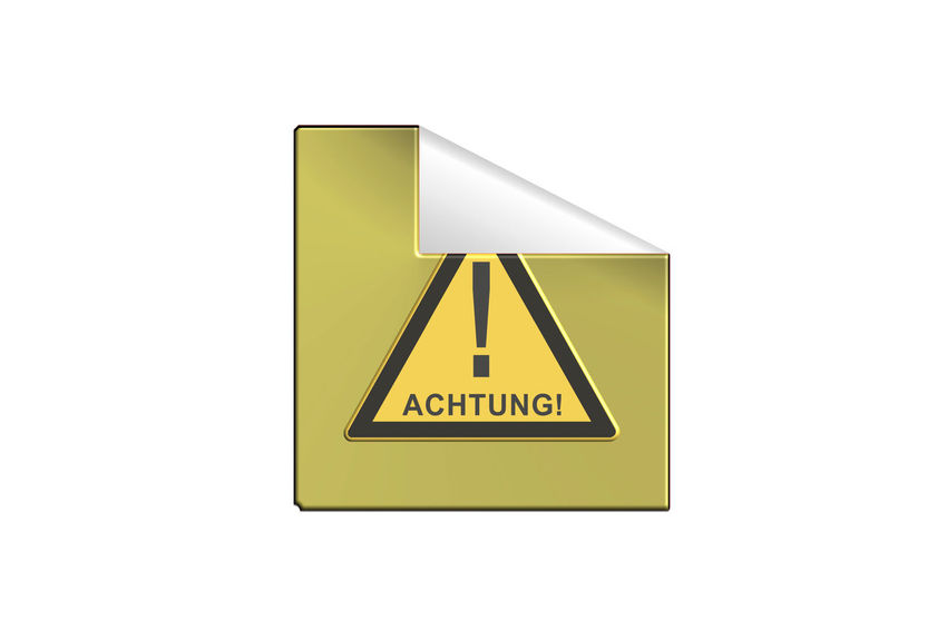 Yellow warning sign Sticker in 3 D with inscription in German Attention Communication Yellow Sign White Background Warning Sign Text Studio Shot Copy Space No People Information Script Cut Out Indoors  Close-up Non-western Script Warning Symbol Information Sign Shape Western Script Symbol Message