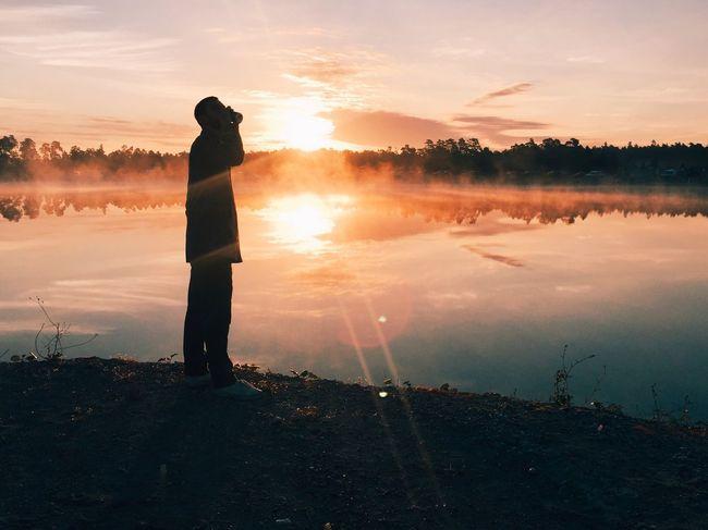 Cosmic beer Campcosmic Silhouette Lake Disco Mist Sunrise