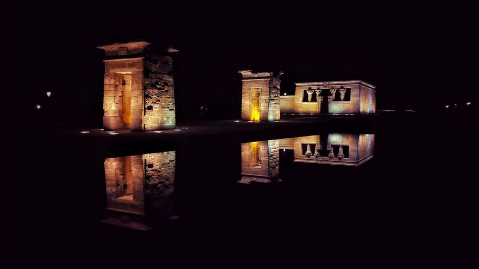 Templo de Debod in Madrid Spain it has a history of about 2200 years. The Architect - 2016 EyeEm Awards Architecture Architecture & Statues Architecture_collection Egyptian History Egyptian Temple Egyptian Debod Temple Egyptian Reflection Reflection Perfection  Reflections Reflejos En El Agua Reflection_collection Nightphotography Night View Night Calles De Madrid Madrid Templo De Debod