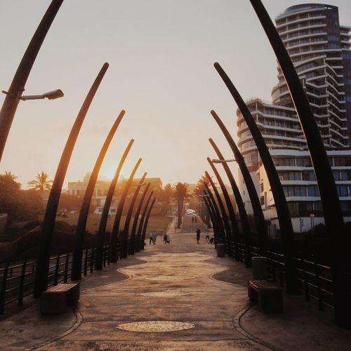 People walking on footpath at sunset