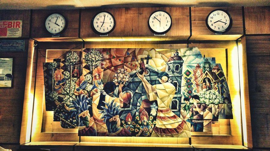 Cebu City Cebu Philippines World Clock Clocks Hotel Hotel Lobby Hotel Reception Rajah Park Hotel Art Painting Abstract