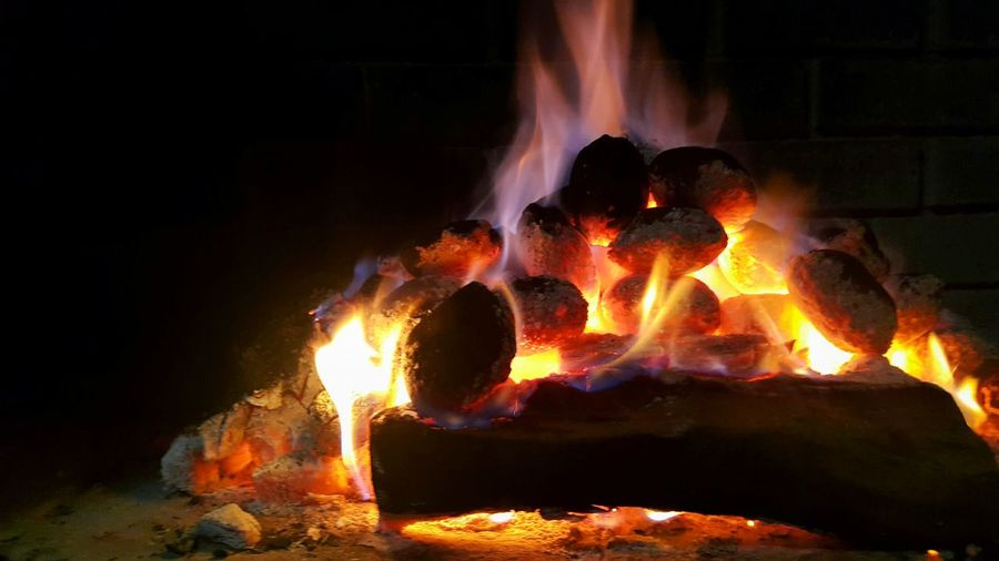 Braaitime Braaivleis Flame Burning Night Outdoors Heat - Temperature Close-up Wood And Coal Burning Fire Cozy Atmosphere Campfire Flames Food Meal Preparation In South Africa Friends Activities