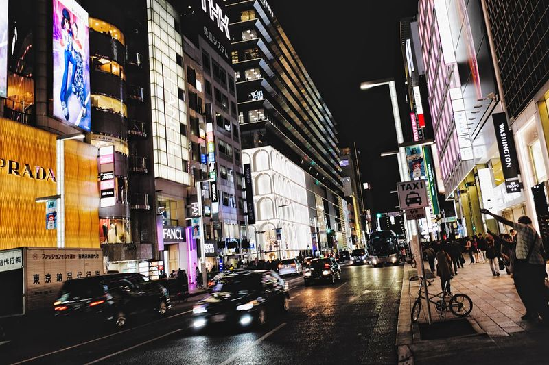 Ginza night. City Life Tokyo Tokyo,Japan Ginza Tokyo Japan Ginza City Building Exterior Architecture Built Structure Illuminated Street City Life Night City Street Building Transportation Real People Mode Of Transportation Crowd