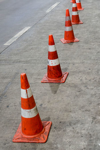 Traffic cones on street in city
