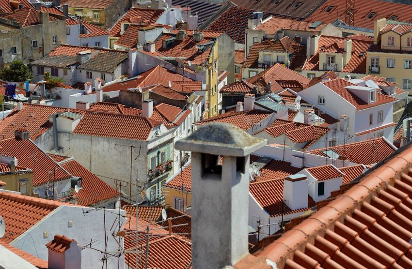 Pattern in lisboa Building Exterior Architecture Roof House Residential Building Built Structure City Cityscape No People Outdoors Tiled Roof  Town
