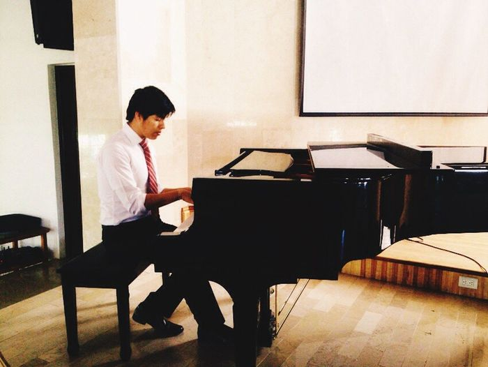 Good Day World Piano Full Length Sitting One Person Real People Standing Indoors  Playing Childhood Day People Asome Potrait_photography (null)Photography Good Morning