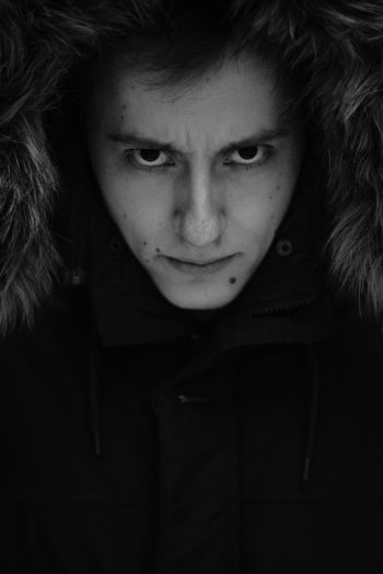 Md: Denis One Person Portrait Front View Headshot Looking At Camera Lifestyles Real People Young Adult Close-up Warm Clothing Human Face Monochrome Dark Model Man