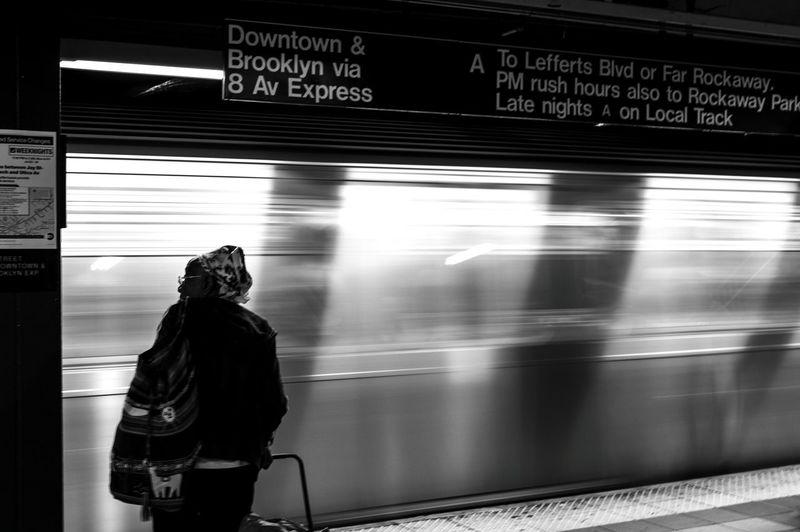 Blurred motion of subway train