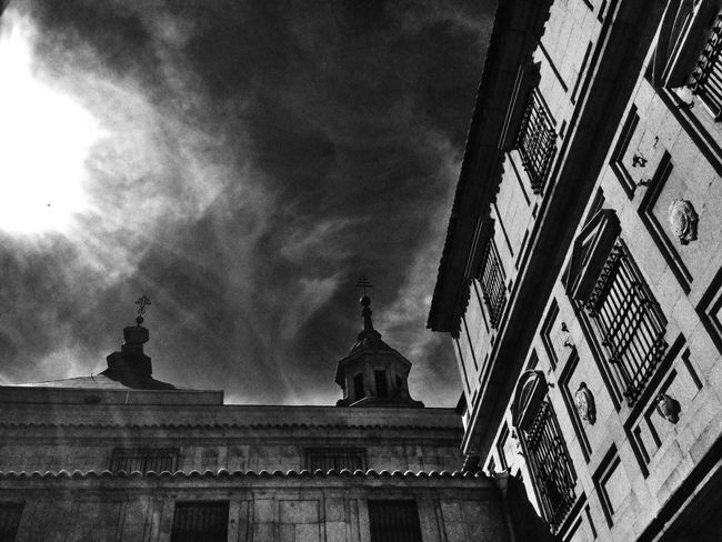 Looking Up Black And White Old World Architecture