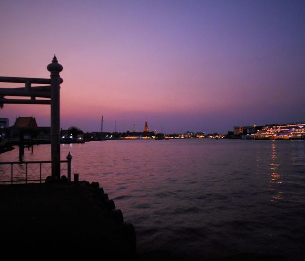 Architecture Blue Capital Cities  Chaophraya River City Cityscape Nightlighting No People Outdoors River Sky Sunset Tranquil Scene Tranquility Travel Destinations Water