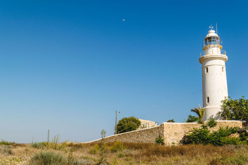 Architecture Blue Blue Sky Building Exterior Built Structure Day Dry Weather Hot Hot Weather Lighthouse Lighthouse Nature No People Outdoors Sky Summer Travel Low Angle View Moon Copy Space