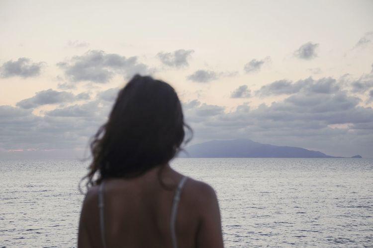 castaway Woman Back Shoulder Hair Island Ocean Sea Sky Clouds Cloud - Sky Outdoors Body Part